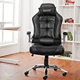 Office Chair Desk Chair Racing Chair Computer Chair with High Back PU Leather Executive (Black), width 66cm