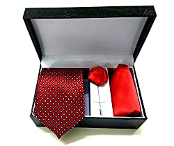 Classique Three Pieces Combo Gift Set Of Gentleman Slim Necktie (Red) With Coat/Jacket/Shirt Flower & Handkerchief/Pocket Square In Leather Finish Gift Box Good For Gifting Purpose