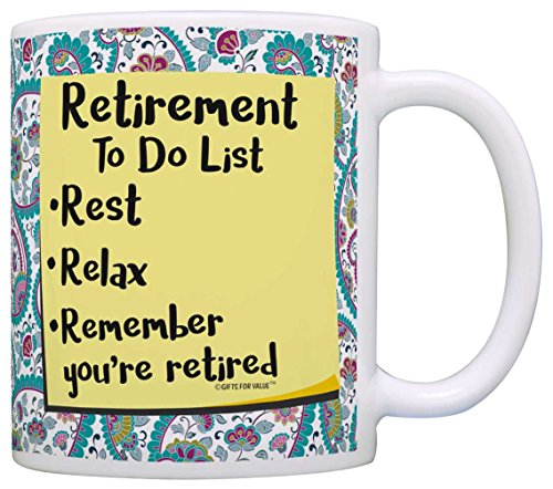 Retirement Gifts for Women Retirement To Do List Gift Coffee Mug Tea Cup Paisley (Paisley Coffee Mug compare prices)