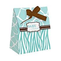 Wild Safari Blue Baby Shower Favor Bags w/Ribbon 12 Per Pack