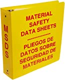 "Brady 2028 3"" Diameter Ring, Red On Yellow Color Bilingual Binder MSDS Binder, Legend ""Material Safety Data Sheets In English And Spanish"""