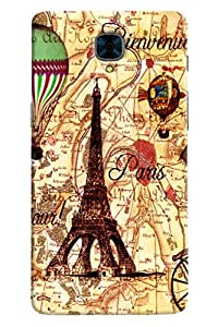 Clarks Eiffil Tower With Butterfly Hard Plastic Printed Back Cover/Case For OnePlus 3
