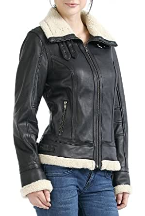 "Jessie G. Women's ""Brittany"" Faux Shearling Trim Lambskin Leather Bomber Jacket - S"