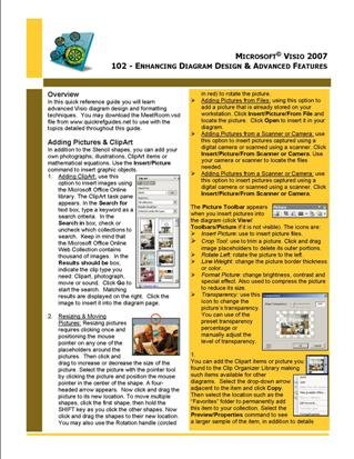 Microsoft Visio 2003/2007 Quick Reference Guide: 102 - Enhancing Diagram Design & Advanced Features