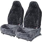 Sheepskin Seat Covers 100% Authentic Genuine Australian for Auto Car Tuck Van - Dark Gray - 2pc