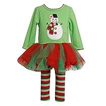 Bonnie Baby Girls Newborn Snowman Appliqued Tutu Legging Set, Green, 3-6 Months