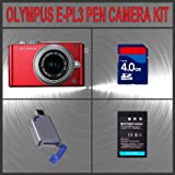 Olympus PEN E-PL3 Digital Camera (Red) W/14-42mm Lens + Huge Accessories Package Including 4GB SDHC Memory Card + High Capacity BLS-1 Replacement Lithium-Ion Battery + Hi-Speed SD Card Reader + Kit