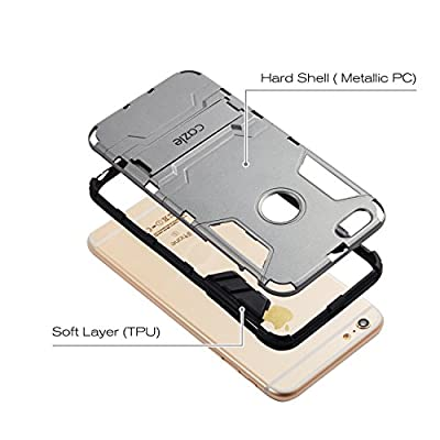 iPhone 6S Plus, iPhone 6 Plus, iRon Dual-layer Heavy Duty Matte Rugged Protective Cover with Built in Foldable Kickstand for Apple iPhone 6S Plus iPhone 6 Plus By Cazle from Coveric