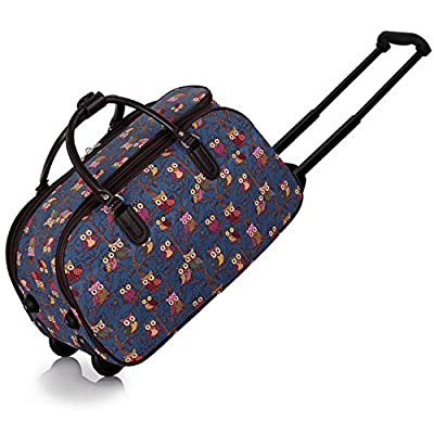 Ladies Travel Bags Holdall Womens Hand Luggage Owl Print Bag Weekend Wheeled Trolley Handbag from TrendStar