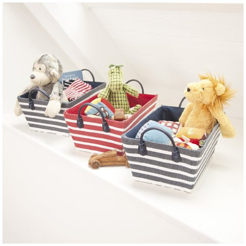 JoJo Maman Bebe Shelf Baskets, Blue and Red Stripe