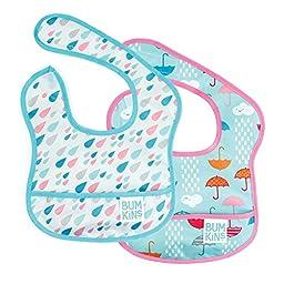 Bumkins Waterproof Starter Bib 2 Pack, Girl (G67-Umbrella/Raindrop) (4-9 Months)