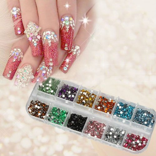 1200pcs New Nail Art Rhinestones Glitters Acrylic