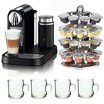 Nespresso Citiz Espresso Maker with Aeroccino Milk Frother Bundle with Nifty Nespresso 40 Capsule Coffee Carousel and 10oz ARC Handy Glass Coffe Mug Bundle