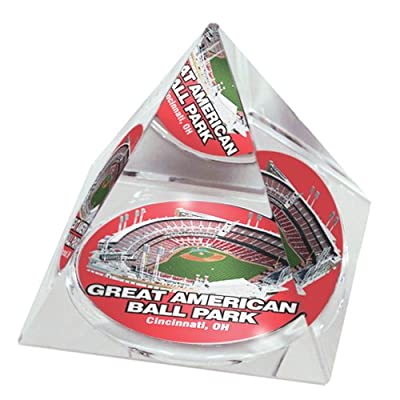 "MLB Cincinnati Reds Great American Ballpark in 2"" Crystal Pyramid with Colored Windowed Gift Box"