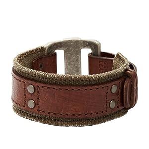 Fossil Jewelry Herren-Armband Leder braunTextil olive JA5752716