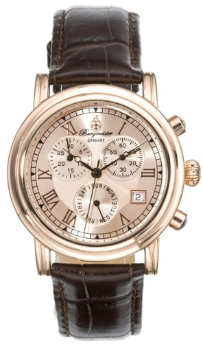 Burgmeister Chronos Bm124-395 Unisex Chronograph Automatic Analogue Wristwatch Brown Leather Strap Gold Dial Day Date