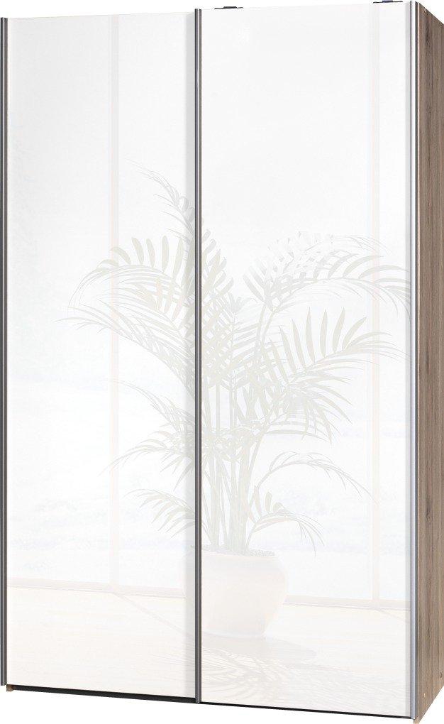 """Schwebetürenschrank """"Soft Plus Smart Typ 40"""", 120 x 194 x 42cm, Sanremo hell/2 x Weiß hochglanz"""