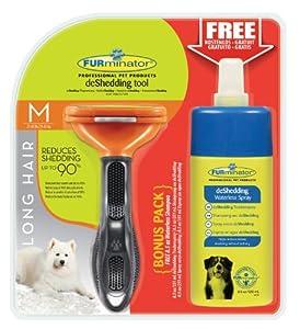 FURminator deShedding-Pflegewerkzeug für langhaarige mittlere Hunde, Größe M mit Gratis Anti-Haaren Trockenspray