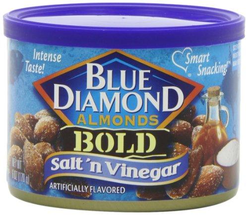 Blue Diamond Almonds Salt & Vinegar, Bold, 6-Ounce Tins (Pack Of 12)