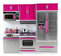 My Modern Kitchen Dishwasher Stove Refrigerator Battery Operated Toy Doll Kitchen Playset w/ Lights,