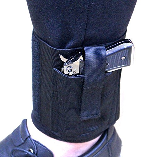 Depring Concealment Ankle Holster Stealth Elastic Wrap Ankle Concealed Carry Gun Holster Open Top Hook & Loop Secure Strap Hidden