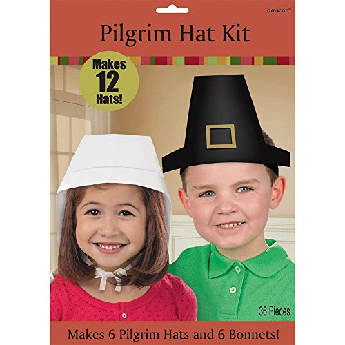 Thanksgiving Pilgrim Hat Craft Kit - 12 Pilgrim Hats (6 Boy Pilgrim Hats and 6 Girl Bonnets) - 1