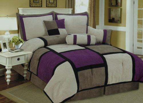 price 7 pieces brown purple black suede patchwork comforter bedding