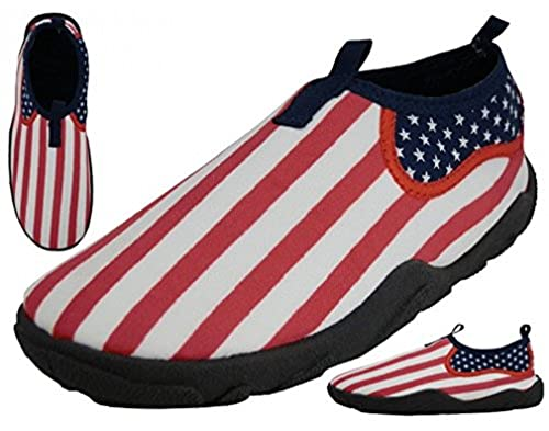 11. American Flag Design Water Shoes - USA style Slip-on Aqua Socks for Pool, Beach, Lake, Yoga, Exercise - MEN'S and WOMEN'S