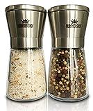 Salz und Pfeffermühle Set | 2-teiliges Set manuelle Design Mühlen mit Keramikmahlwerk für Salz und Pfeffer | Gewürzmühle aus Edelstahl | Kräutermühle | Salzmühle für Meersalz