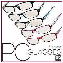 パソコン用メガネ<青色光カット>PC眼鏡☆パソコン、スマートフォン、ゲームなどのブルーライトを低減 (グロスブラック)