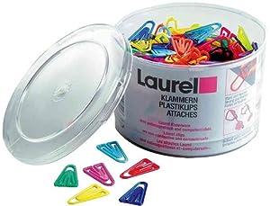 Laurel Büroklammer Plastiklips aus Polystyrol, 21 mm, Dose, grund/leuchtfarbig sortiert