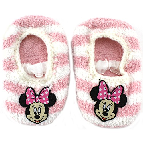 Disney Minnie Mouse Bowtique Girl'S Pink And White Striped Slippers 18-24 Months [5011]