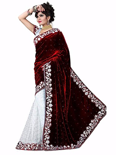 Edeal sarees maroon and white Velvet Saree