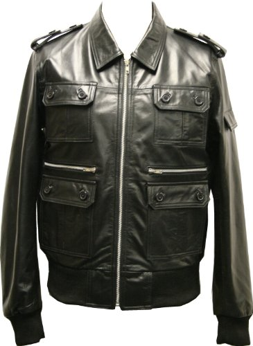 Mens Black Urban Real Genuine Leather Jacket In Latest Fashion Classic Retro Military Coat Custom Cafe Racer Biker Style - Size XL / 44