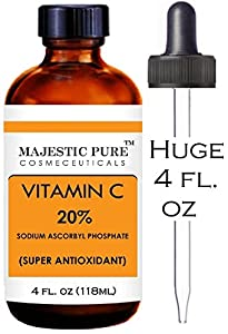Majestic Pure Vitamin C Serum 20% 4 Oz - Premium Quality - Fights Age Spots, Sun Damage and Dark Circles Under the Eyes - Benefits Skin Tone and Texture, Bringing Back Your Youthful Glow - Contains Hyaluronic Acid, Vitamin E and Ferulic Acid. Best An