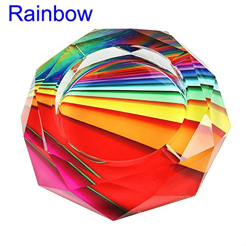 CSKB Rainbow Crystal Cigarette Ashtray Ash Holder Case, Home Office Tabletop Beautiful Decoration Craft Great Gift