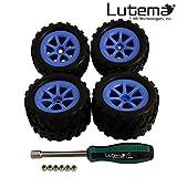 Lutema Hyp-R-Baja 2.4Ghz Big Bruiser Complete Set Of Color Wheels With Tires - Blue