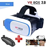 Black Virtual Reality Headset VR BOX 2.0 with black remote (3D glasses) (Blue)