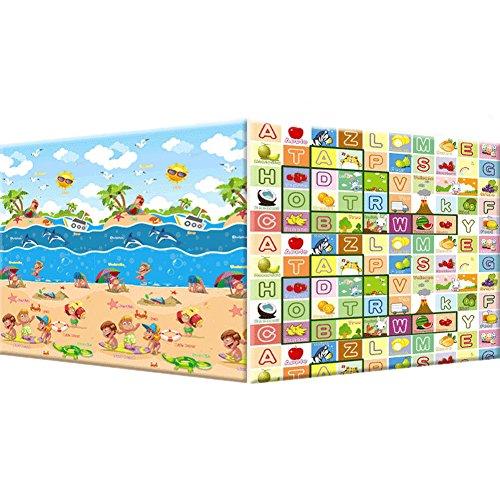 Baby Picnic Game Mats 180*200*0.5Cm Cartoon Fruit Letters Foam Floor Mats