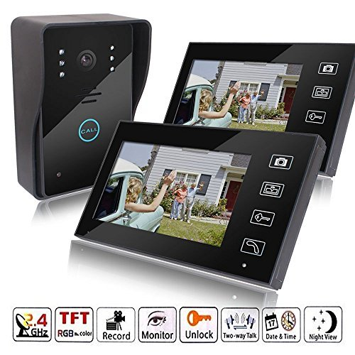MicroMall 2.4G 7-Inch 2 Indoor monitor Outdoor camera TFT Wireless Video Door Phone Intercom Home Doorbell (Wireless Intercom Multi Unit compare prices)
