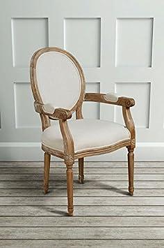 MY-Furniture - CLOUET - Sillon con respaldo ovalado tipo Frances Luis XVI - estilo shabby chic - de madera de roble