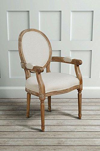 MY-Furniture – CLOUET – Sillon con respaldo ovalado tipo Frances Luis XVI – estilo shabby chic – de madera de roble