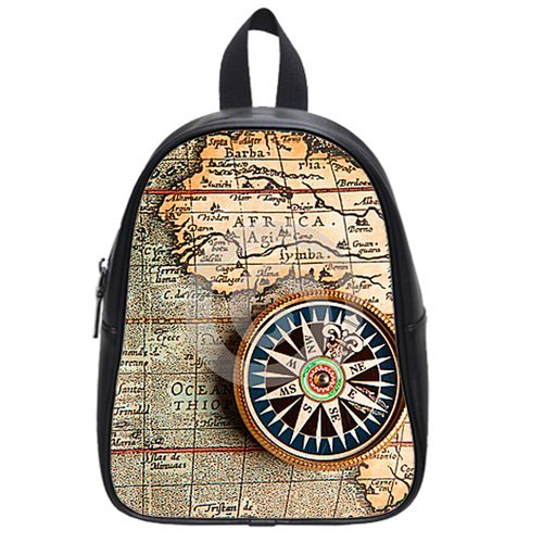 Generic Custom Africa And Compass Printed School Bag Backpack Fit Short Trip Pu Leather Medium front-911561