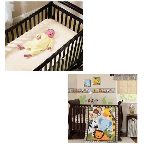 Summer Infant Jungle Buddies 4-Piece Crib Bedding Set With Organic Crib Mattress Protector