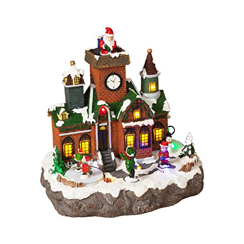 led lighted animated snowy christmas village house scene with ice skaters and santa claus - Animated Christmas Village