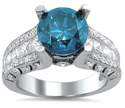 2.90Ct Blue Round Princess Cut Diamond Engagement Ring 18K White Gold