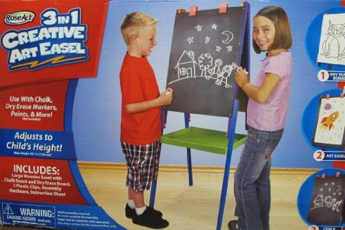 Roseart 3-in-1 Adjustable Children's Art Easel, Up to 49-Inch Tall