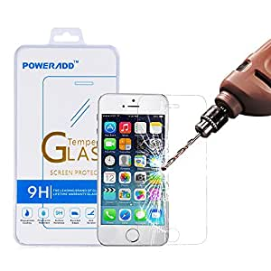 iPhone 5S Screen Protector, Poweradd Apple iPhone 5S / 5 / 5C Bubble Free, 9H Hardness Tempered Glass with Lifetime Hassle-free Warranty (in Retail Packaging)