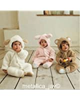 A168® Baby Todler All in One Snowsuit Jacke Fleece Romper Outfit Coat Snowsuit Available in White Pink and Brown