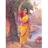 Ahalya By Raja Ravi Varma The Classic Arts Reproduction, (Framed Canvas Print) By SCPmarts Mount On MDF Ready To Hand One Keychain Free With Order FREE SHIPPING Size : 20 Inch X 14 Inch